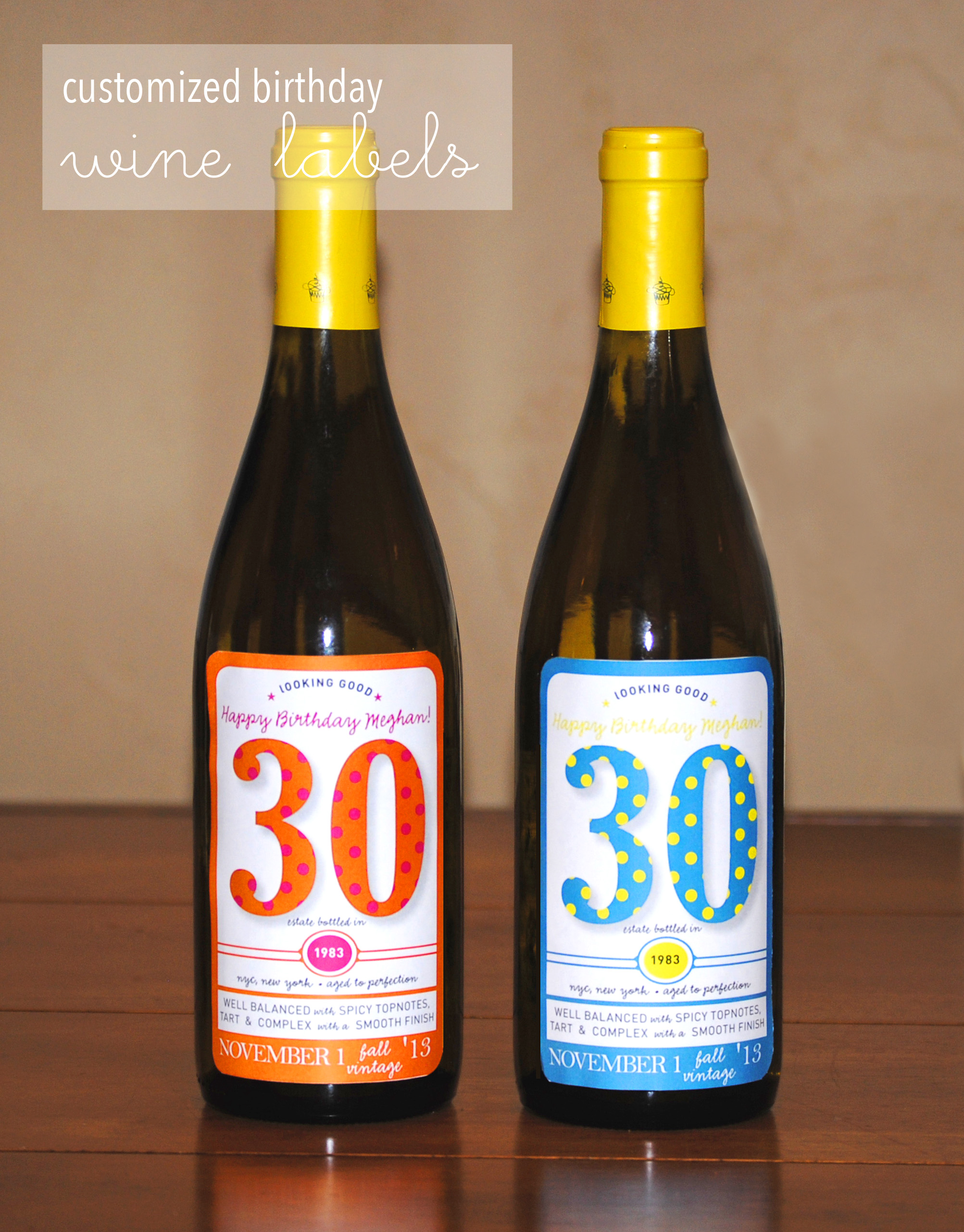 Customized Birthday Wine Labels | Lemons and Letterpress